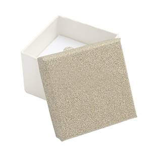 Dárková krabička na prsten nebo náušnice, stříbřitě béžová