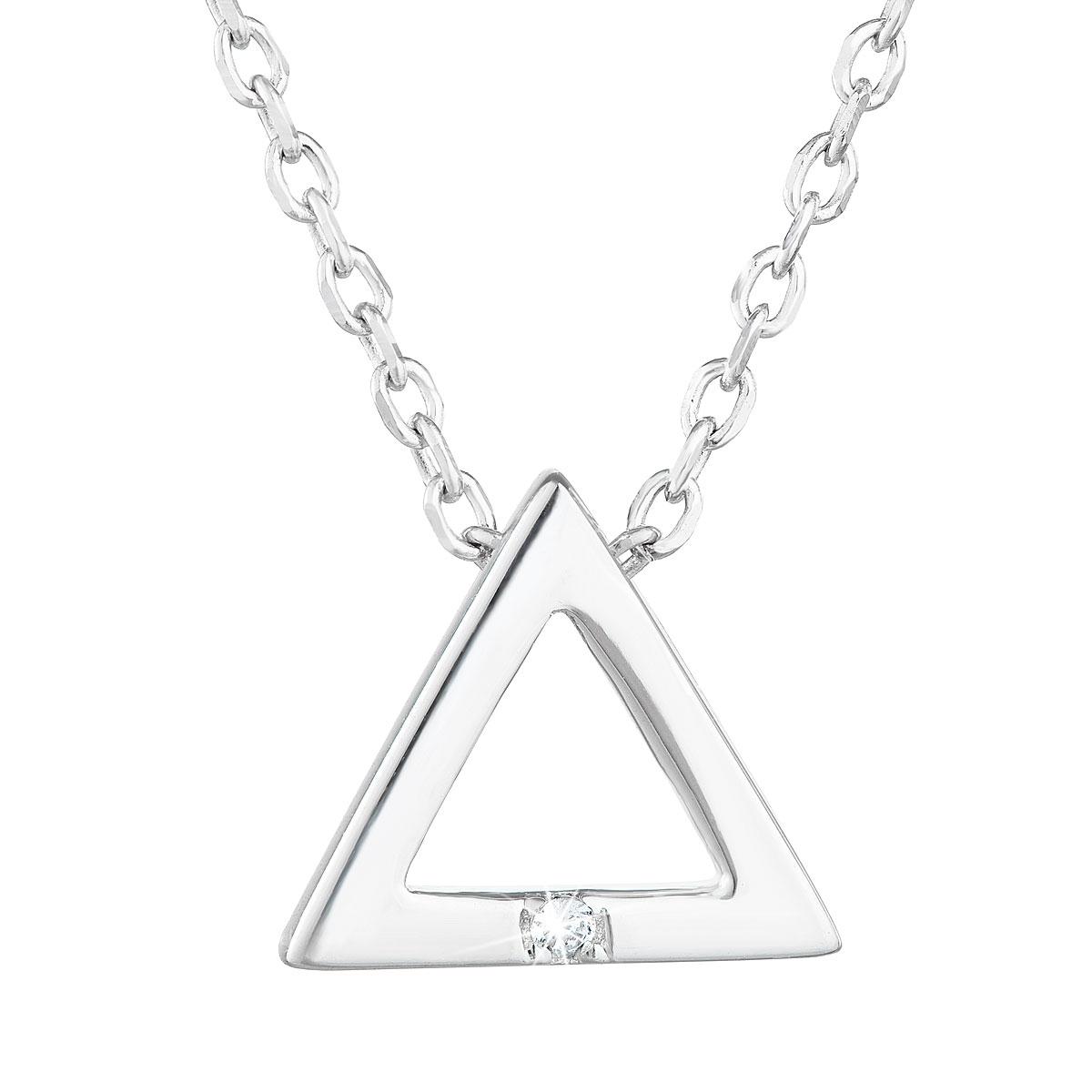 Stříbrný náhrdelník trojúhelník se zirkonem EG4236