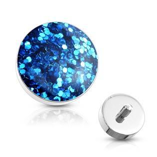 Microdermal - ozdobná část - světle modré třpytky