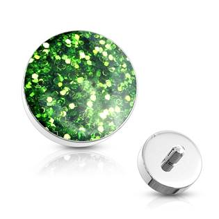 Microdermal - ozdobná část - světle zelené třpytky