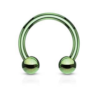 Piercing podkova, barva zelená