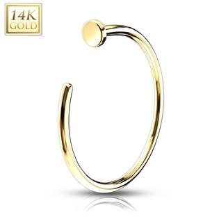 Zlatý piercing do nosu kruh, Au 585/1000