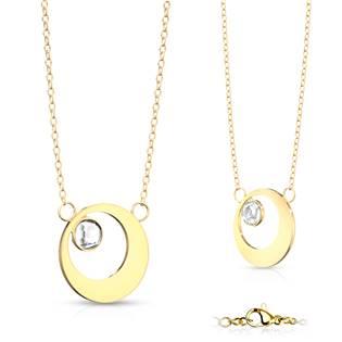Zlacený ocelový náhrdelník kroužek se zirkonem