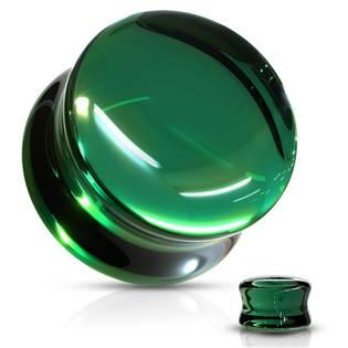 Skleněný plug do ucha zelený