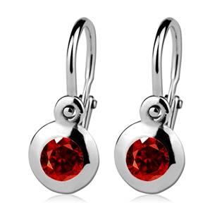 Šperky4U Dětské náušnice stříbrné, červené zirkony - CS1030-R