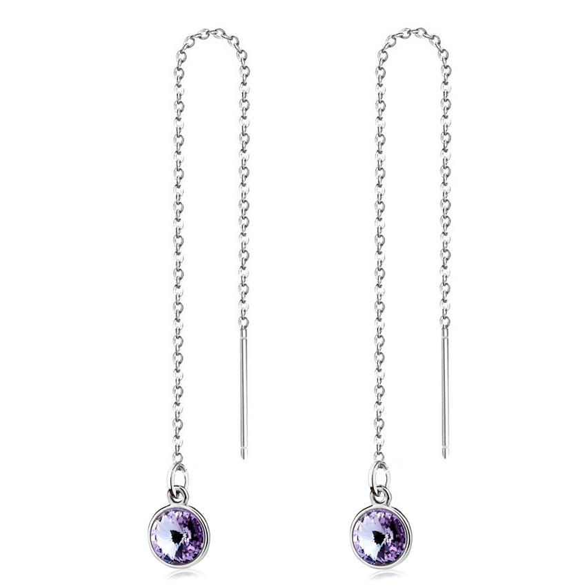 Stříbrné provlékací řetízkové náušnice Crystals from Swarovski, VIOLET CS1301-VI