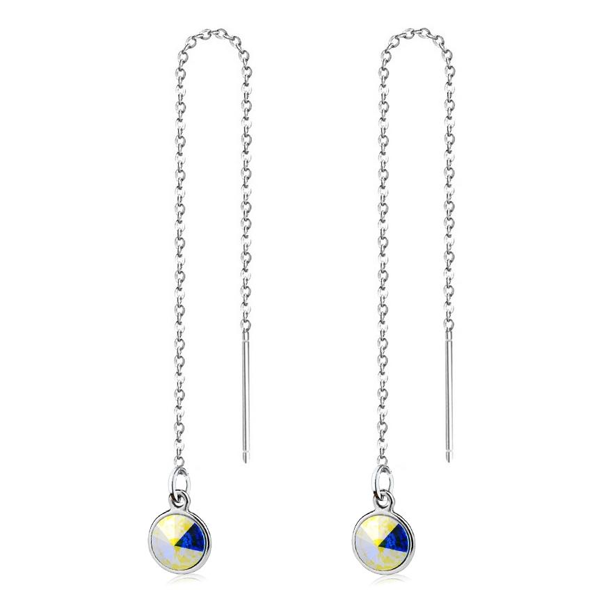 Stříbrné provlékací řetízkové náušnice Crystals from Swarovski, AB CS1301-AB
