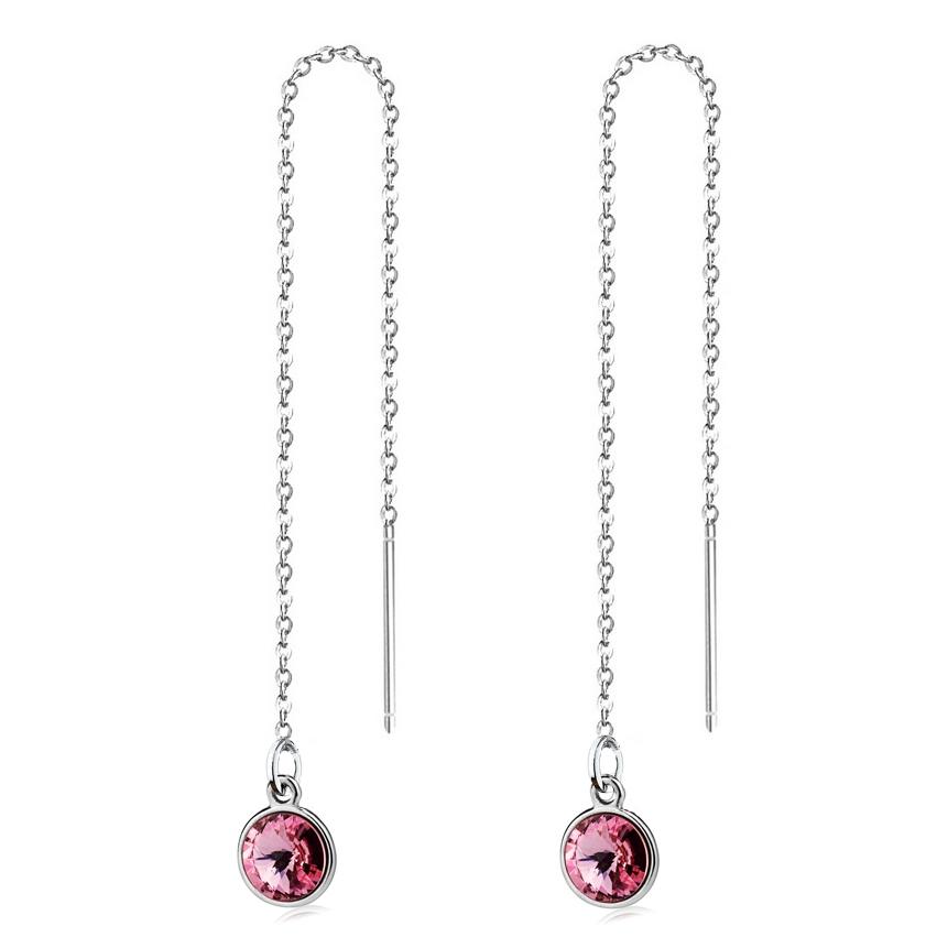 Stříbrné provlékací řetízkové náušnice Crystals from Swarovski, LIGHT ROSE CS1301-LR