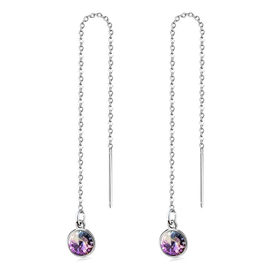 Stříbrné provlékací řetízkové náušnice Crystals from Swarovski, VITRAIL LIGHT CS1301-VL