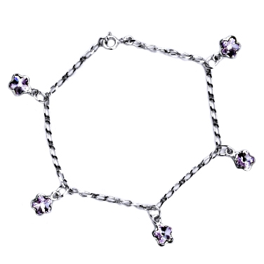 Stříbrný náramek s fialovými kytičkami Crystals from Swarovski CS9007-VI
