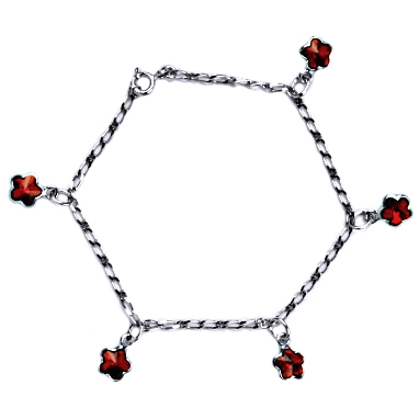 Stříbrný náramek s červenými kytičkami Crystals from Swarovski CS9007-SI