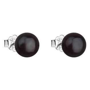 Stříbrné náušnice pecky s černou říční perlou
