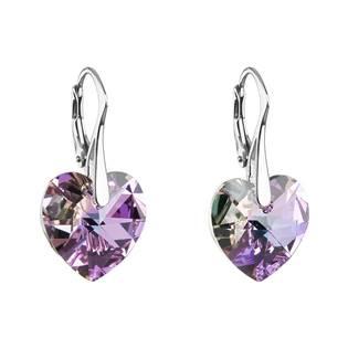Stříbrné náušnice srdce Crystals from Swarovski®, Vitrail Light