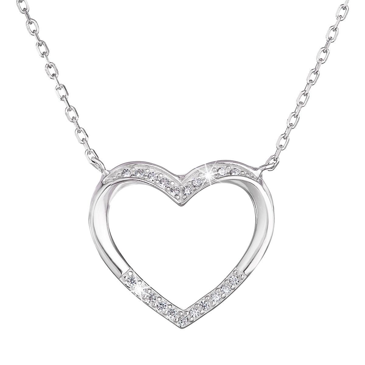 Stříbrný náhrdelník srdce EG4242