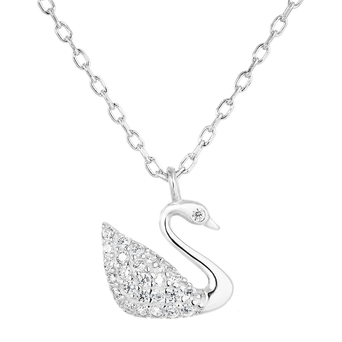 Stříbrný náhrdelník s labuť EG4243