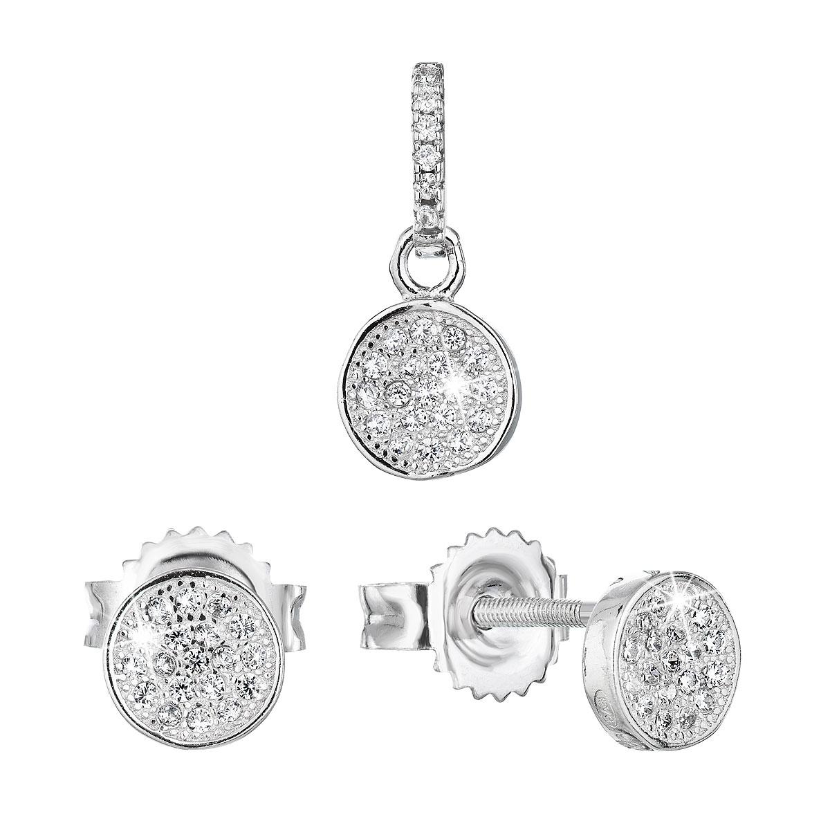 Sada šperků se zirkonem náušnice a přívěsek EG3195