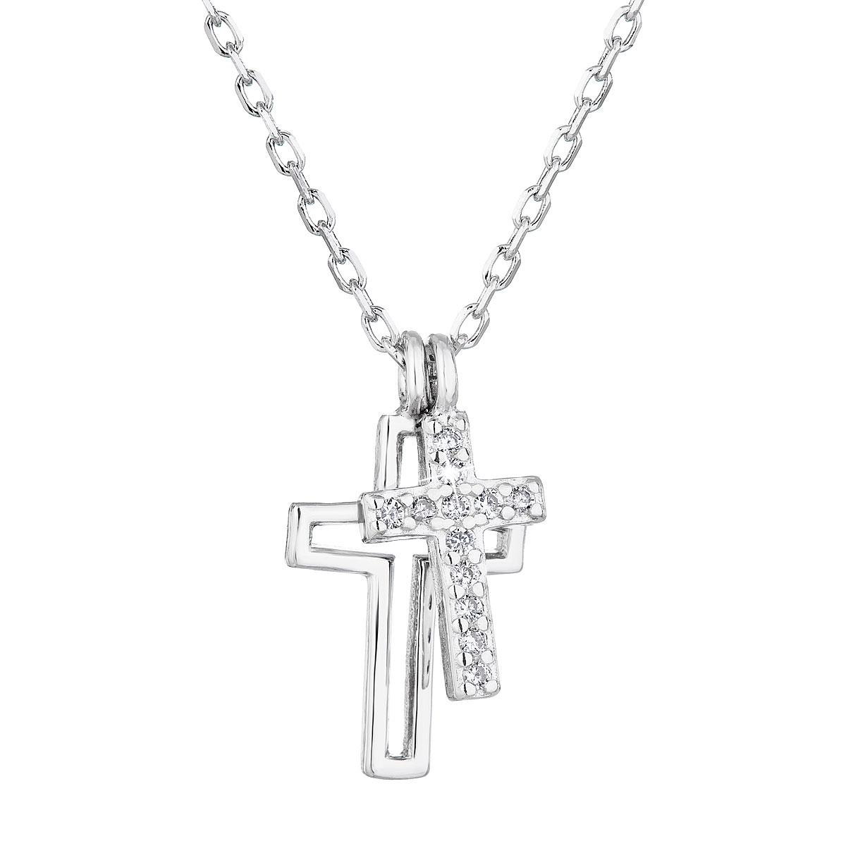 Stříbrný náhrdelník s křížky EG4244