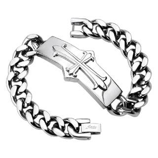 Pánský ocelový náramek s křížem OPA1585