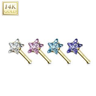 Zlatý piercing do nosu - hvězda Au 585/1000