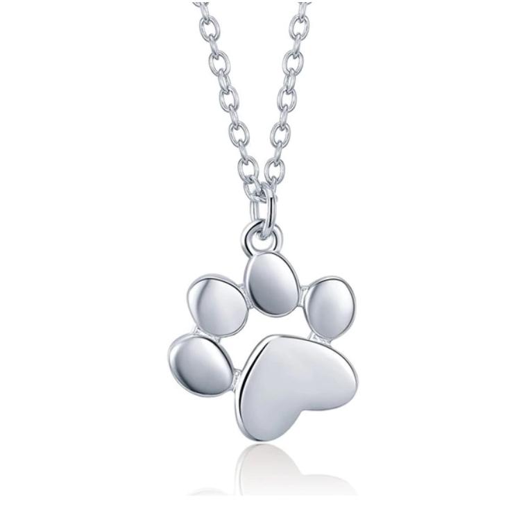 Strieborný náhrdelník psie tlapky