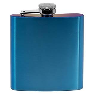 Ocelová kapesní lahev - placatka modrá 175ml v dárkovém balení