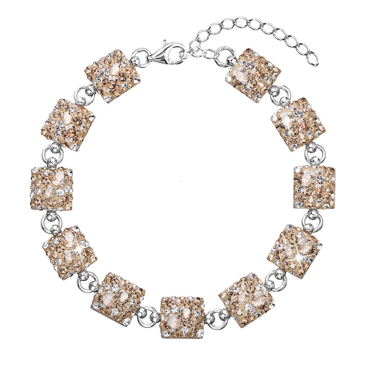Stříbrný náramek s krystaly Crystals from Swarovski® Gold mix EG7002-GDX