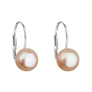 Stříbrné náušnice visací s oranžovou říční perlou