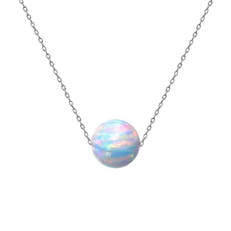 Ocelový náhrdelník s opálem - kulička 6 mm NBP61-OP17