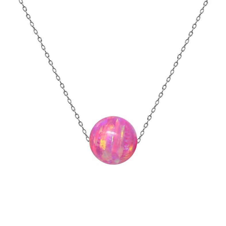 Ocelový náhrdelník s opálem - kulička 6 mm NBP61-OP22
