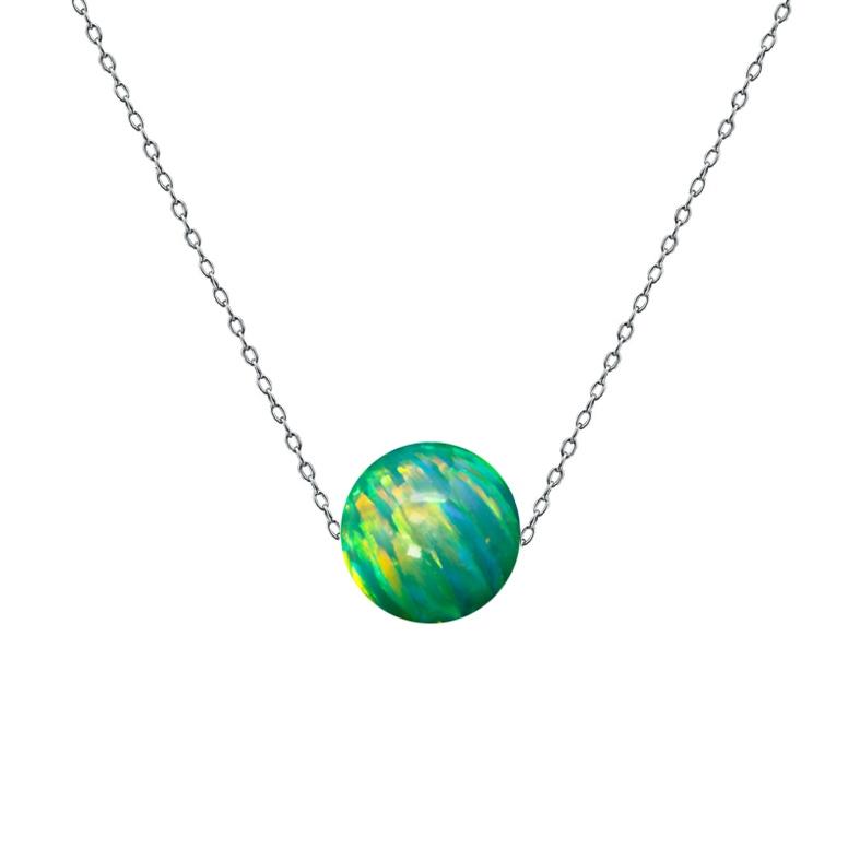 Ocelový náhrdelník s opálem - kulička 6 mm NBP61-OP11