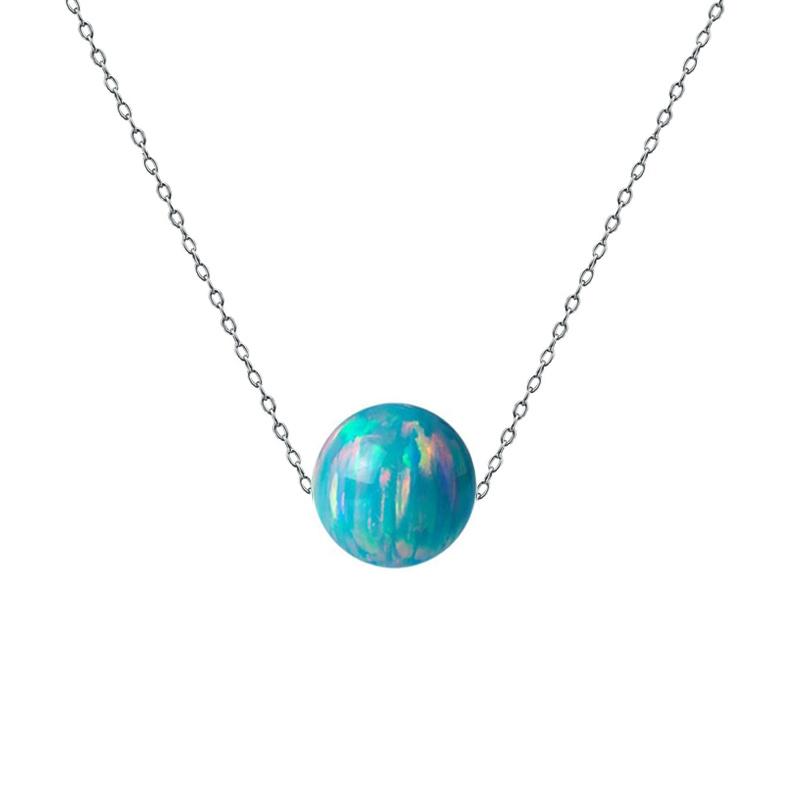 Ocelový náhrdelník s opálem - kulička 6 mm NBP61-OP02