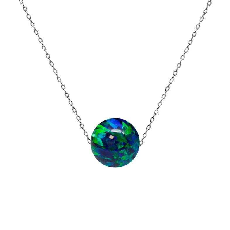 Ocelový náhrdelník s opálem - kulička 6 mm NBP61-OP19