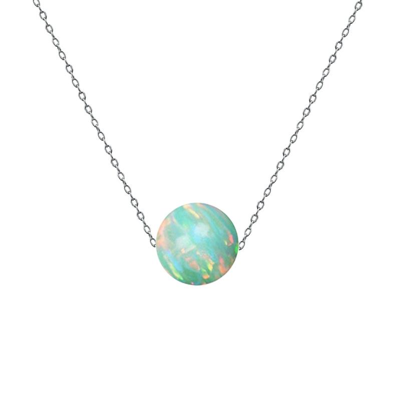 Ocelový náhrdelník s opálem - kulička 6 mm NBP61-OP03