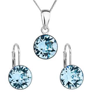 EVOLUTION GROUP CZ Sada stříbrných šperků s kameny Crystals from Swarovski® Aqua - 39140.3