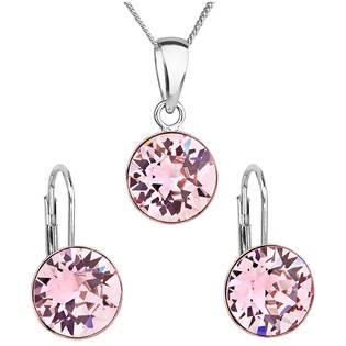 EVOLUTION GROUP CZ Sada stříbrných šperků s kameny Crystals from Swarovski® Rose - 39140.3