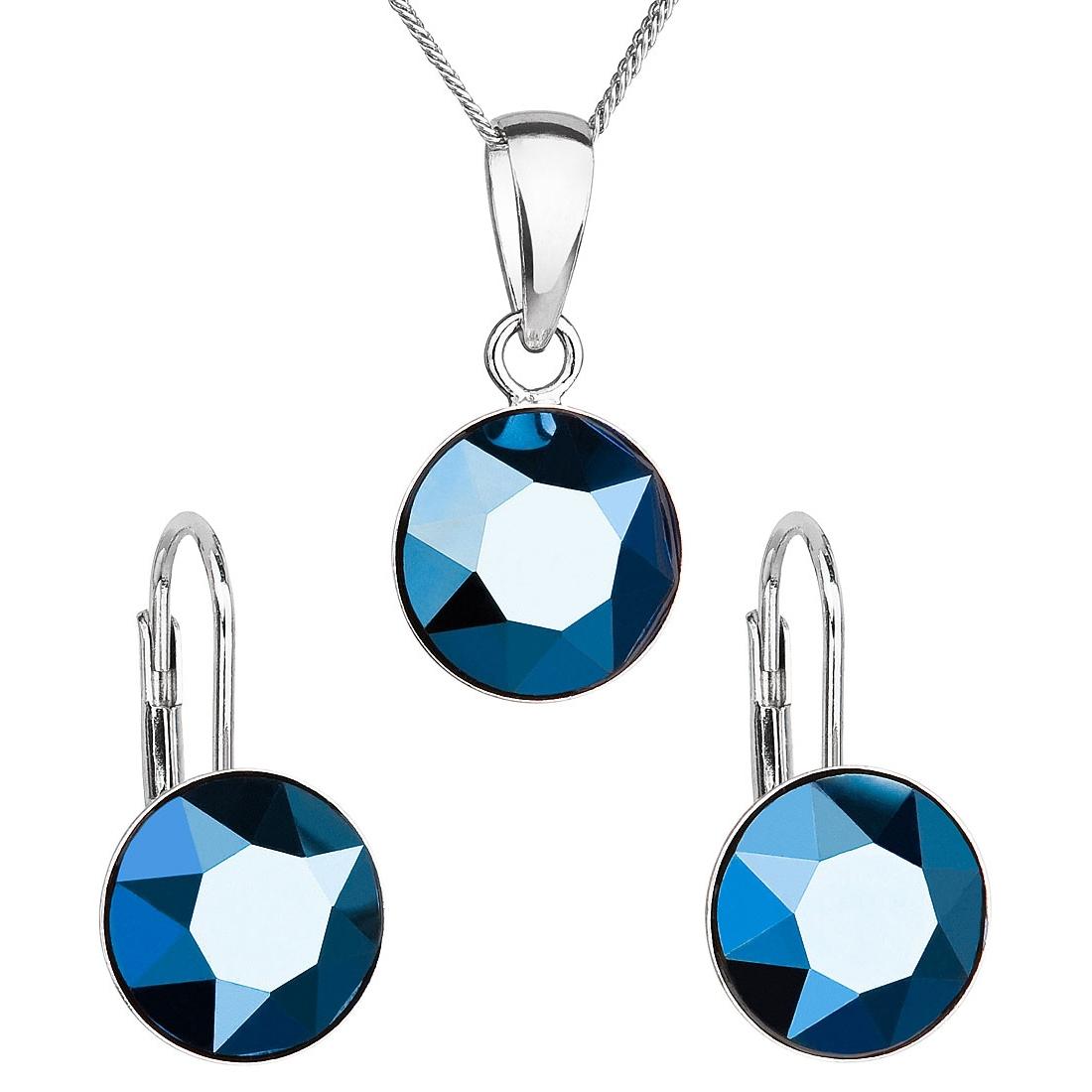 Sada stříbrných šperků s kameny Crystals from Swarovski® Metalic Blue EG3054-MB