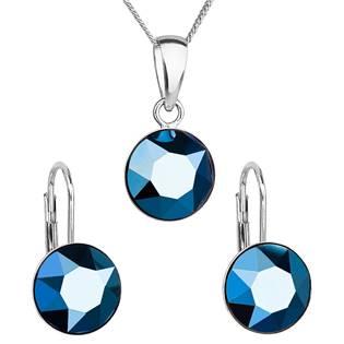 Sada stříbrných šperků s kameny Crystals from Swarovski® Metalic Blue