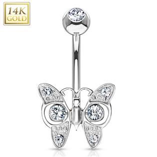 Zlatý piercing do pupíku - motýl, Au 585/1000