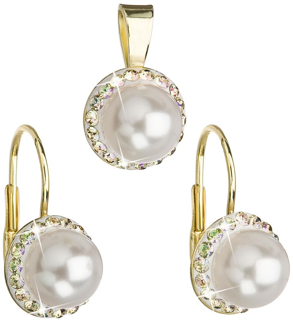 Sada zlacených šperků s perličkami Crystals from Swarovski® EG3036-GDWH