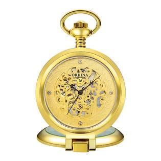 Šperky4U Mechanické kapesní hodinky otevírací - cibule - KH0073-GD