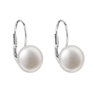 Stříbrné náušnice visací s bílou říční perlou