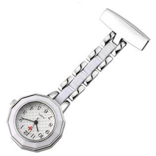 Připínací stříbřené hodinky pro zdravotníky
