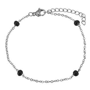OPA1601-K Ocelový náramek s černými korálky