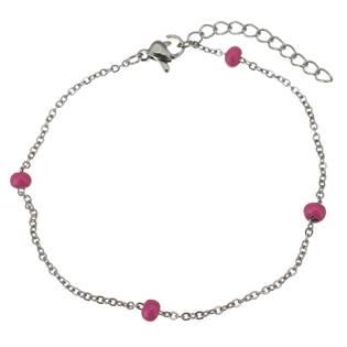 OPA1601-P Ocelový náramek s růžovými korálky