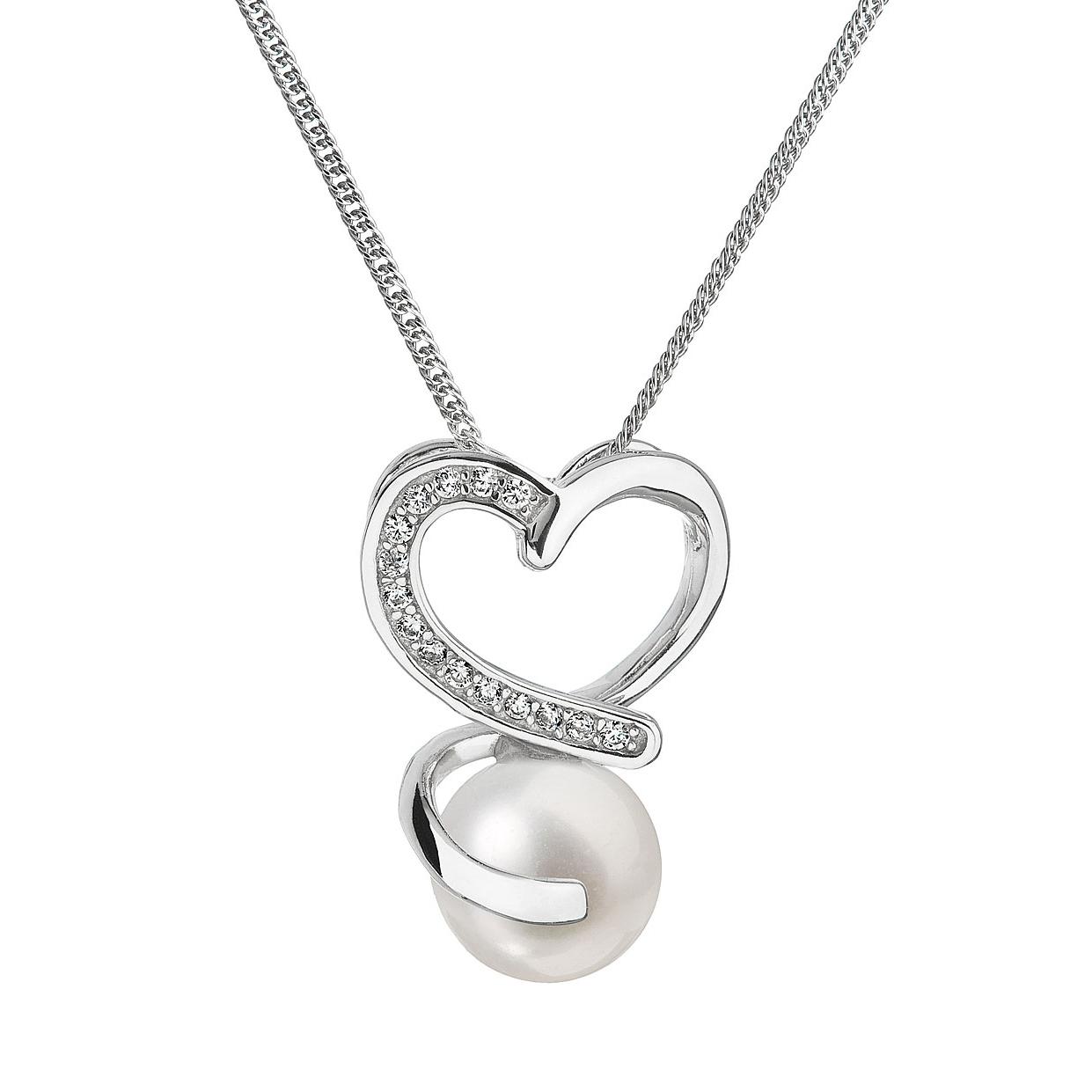 Stříbrný náhrdelník s řetízkem z pravou říční perlou EG4202