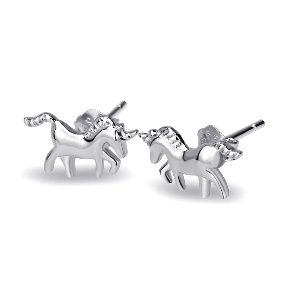 Strieborné náušnice unicorn - jednorožcovi