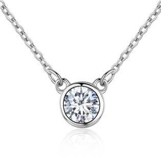 NB-2087-C Stříbrný náhrdelník s kulatým čirým kamenem