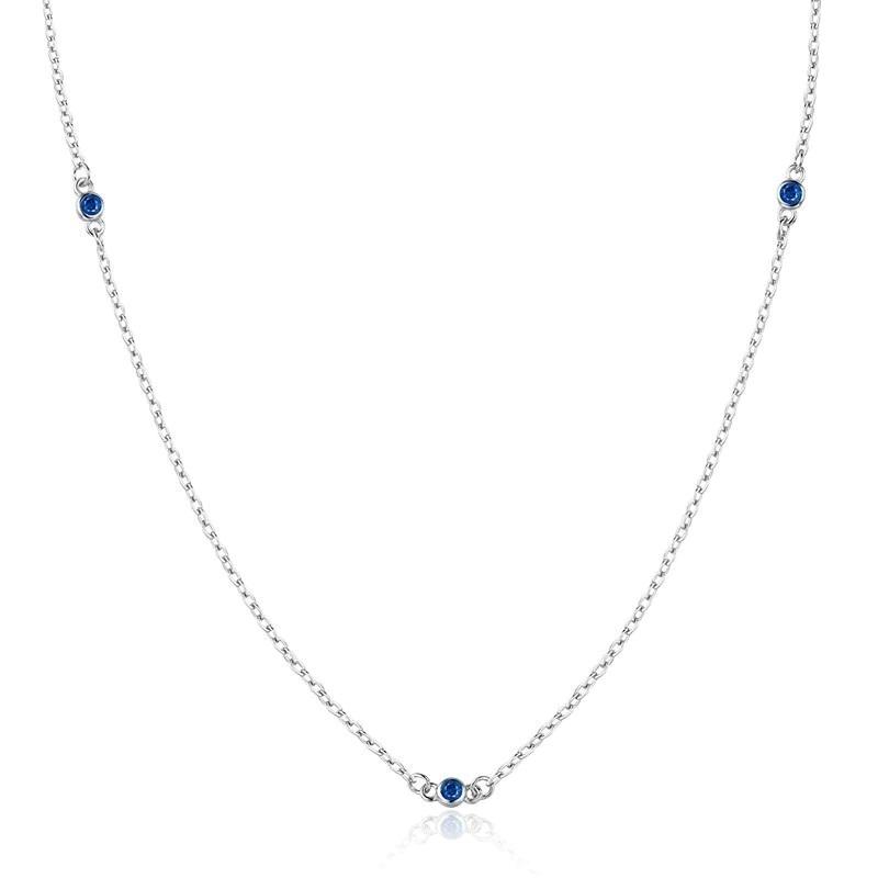Strieborný náhrdelník s modrými zirkónmi