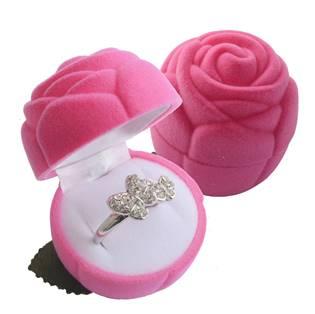 Šperky4U Dárková krabička semiš - růže růžová - KR0037-PK