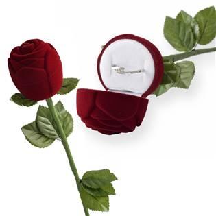 Dárková krabička na prsten - růže na stonku, barva bordó